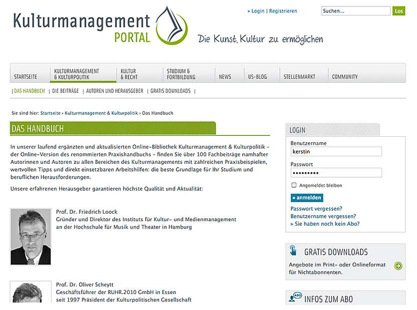Kulturmanagement Portal: Neuaufbau der Website
