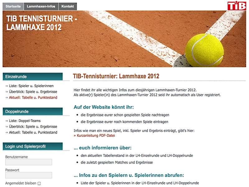 TiB Tennis: Website für vereinsinterne Turniere