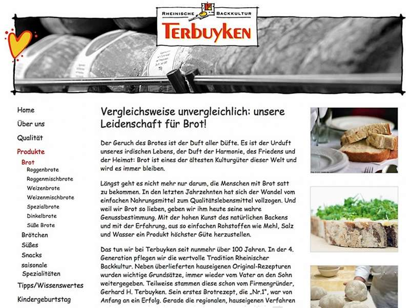 Bäckerei Terbuyken: Relaunch der Website