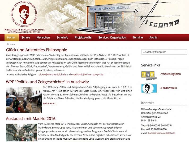 Wilma Rudolph Schule: Migration der Website