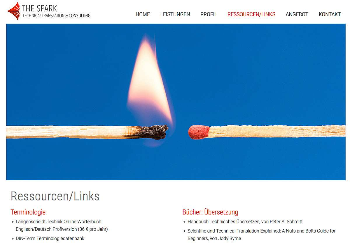THE SPARK: Neuaufbau der Website