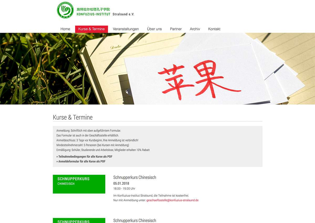 Konfuzius Institut Stralsund: Website-Relaunch